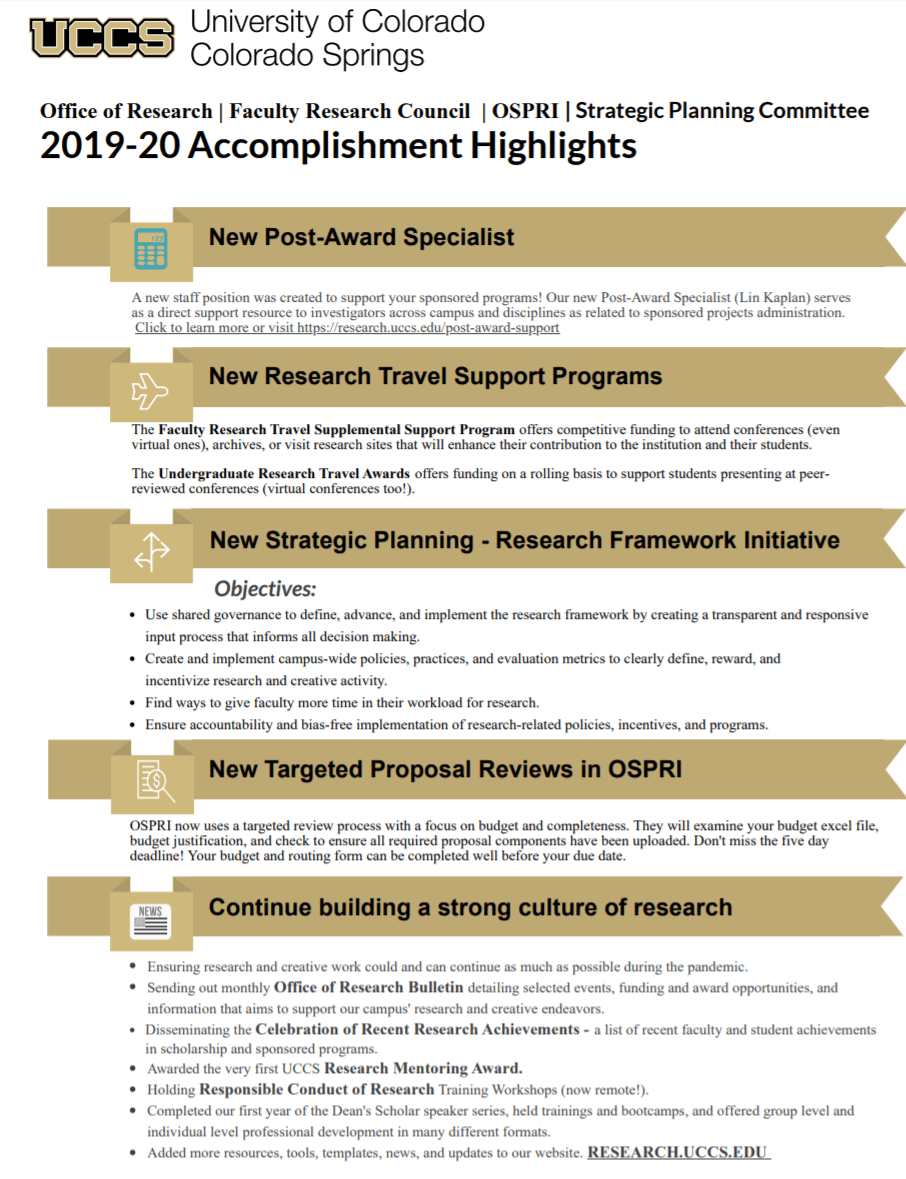 FY20 Accomplishment Highlights Page 1